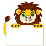 Lion with poster Stock Photo