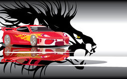 Lion power. Vector image of sports car and lion shadow Stock Photos