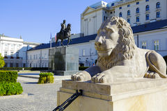 Lion and Prince Jozef Poniatowski statue Stock Photography