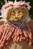 Lion pumpkin head Scarecrow for Halloween royalty free stock photography