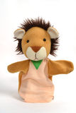 Lion puppet. Hand puppet of lion isolated on white Stock Photography