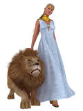 Lion Queen. Fantasy queen in long blue dress with gold collar and headband calms snarling pet lion Stock Photo