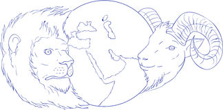 Lion Ram Globe Middle East Drawing stock illustratie