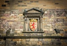Lion Rampant crest above the main entrance at Edinburgh Castle in Scotland. stock images