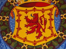 Lion rampant symbol of SCOTLAND. Painting of scottish lion rampant symbol of SCOTLAND on armorial bearings in STIRLING castle, SCOTLAND / GREAT BRITAIN UK / Royalty Free Stock Photography