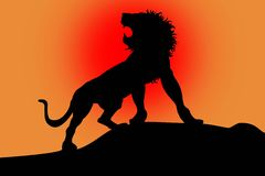 Lion on red. Black silhouette of lion on red background stock illustration