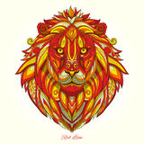 Lion red fire ornament ethnic vector illustration Royalty Free Stock Photos
