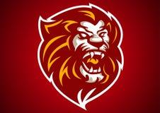 Lion red head logo vector. Emblem illustration design idea creative tattoo symbol sign Royalty Free Stock Photos