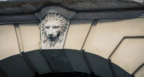 Lion relief over a bridge Stock Image