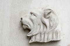 Lion Religious Symbol on White Background. A roaring Lion on a white background. Located on the e of the Baker Memorial United Methodist Church in Saint Charles royalty free stock image