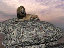 Lion resting - 3D render Stock Images