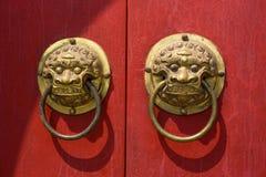 Lion Ring på dörren Fotografering för Bildbyråer