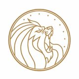 Lion Roaring Circle Gold Logo White Background Vector Illustration. Design Royalty Free Stock Images