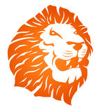 Lion roaring. Illustration in orange, maybe as a rubber stamp or lino cut, of the face of a lion with open mouth roaring, white background stock illustration