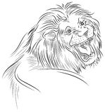 A lion roaring. Line art image Stock Photo
