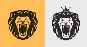 Lion roaring logo or label. Animal, wildlife icon. Vector. Lion roaring logo or label. Animal, wildlife icon. Vector Stock Image