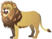 Lion Roaring stående sidosikt, afrikanskt Savana löst livdjur - vektorillustration royaltyfri illustrationer