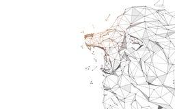 Lion Roaring van lijnen, driehoeken en het ontwerp van de deeltjesstijl royalty-vrije illustratie