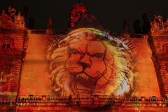A lion roars in Lyon Stock Images