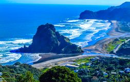 Lion Rock, aha Beach, Auckland, New Zealand. A landmark of a rock out cropping with small trees and surrounded by water Stock Images