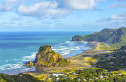 Lion Rock at Piha Beach Auckland New Zealand. Aerial View to Lion Rock at Piha Beach Auckland New Zealand, in the morning time Royalty Free Stock Photo