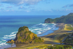 Lion Rock Piha Beach Auckland New Zealand. Look Out View to Lion Rock Piha Beach Auckland New Zealand royalty free stock images