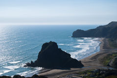 Lion Rock on the Piha Beach , New Zealand Stock Images
