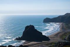 Lion Rock on the Piha Beach , New Zealand. West coast of North New Zealand Island.Piha beach stock images