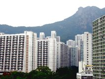 Lion Rock and Public Housing. In Hong Kong China Royalty Free Stock Images