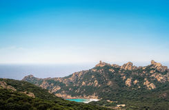 Lion Rock of Roccapina. Roccapine (or Roccapina) is a large beach of fine, white sand and strange rock formations, in particular the lion rock (Lion de Roccapina Royalty Free Stock Image