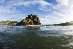 Lion Rock Wave,. A wave coming in, in front of Piha's iconic Lion Rock, Auckland, New Zealand Royalty Free Stock Images