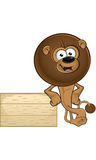 Lion With Round Mane - Leaning On Wooden Sign Stock Photo