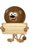 Lion With Round Mane - tenere segno di legno royalty illustrazione gratis
