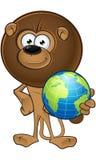 Lion With Round Mane - tenere un globo illustrazione vettoriale