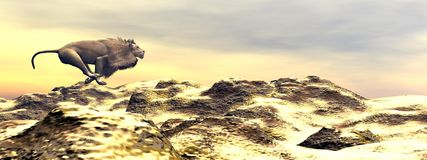 Lion running - 3D render Royalty Free Stock Photo