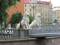 Lion bridge in Saint Petersburg. Russia. Lion's bridge in St. Petersburg. Sculptures of lions on the bridge. Landmark. Tourist attraction. Architectural Royalty Free Stock Photo