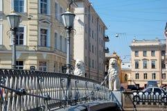 Lion's Bridge in St-Petersburg Royalty Free Stock Photo