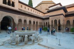 Court and Fountain of Lions in Nasrid Palaces, Alhambra, Granada. Andalusia, Spain royalty free stock images