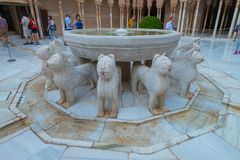 Court and Fountain of Lions in Nasrid Palaces, Alhambra, Granada stock photography
