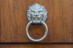 Lion's face door knocker on wooden door Stock Photo