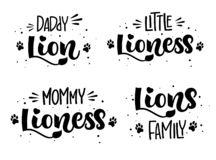Lion`s Family set of hand draw calligraphy script lettering whith dots, splashes and whiskers decore stock illustration