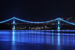 Lion's Gate Bridge. At night in Vancouver Royalty Free Stock Photography