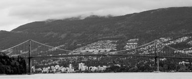 Lion's Gate Bridge, Vancouver, BC. Royalty Free Stock Images