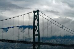 Lion`s Gate Bridge in Vancouver, BC royalty free stock image