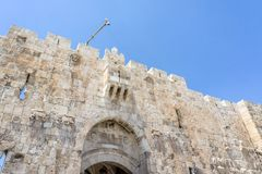 The Lion`s Gate in Old City of Jerusalem, Israel. The Lion`s Gate with stone lions - decorative details on the gate in Old City of Jerusalem, Israel Royalty Free Stock Image