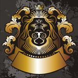Lion's Head banner. A banner of a lion's head in gold and black Stock Image
