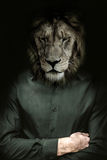 The lion's head man. Pensive man with a lion's head Royalty Free Stock Image