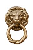 Lion's head. Old style lion's head knocker isolated on white Royalty Free Stock Image