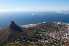 Lion's Head, Signal Hill and Robben Island. Cape Town city bowl below Signal Hill and Lion's Head with Robben Island across Table Bay Royalty Free Stock Photos