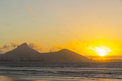 Lion's Head and Signal Hill at sunset Royalty Free Stock Photography